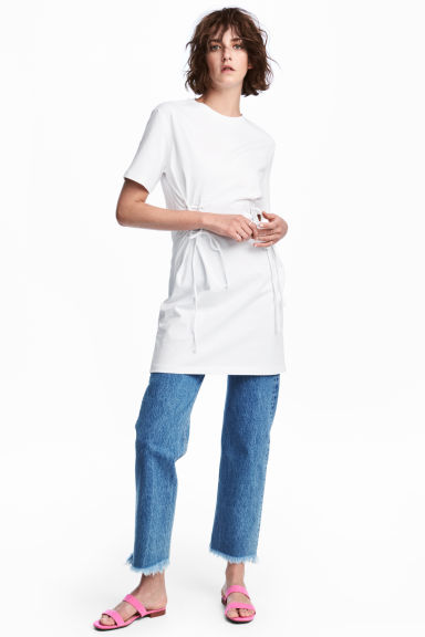 Laced T-shirt dress - White - Ladies | H&M CA