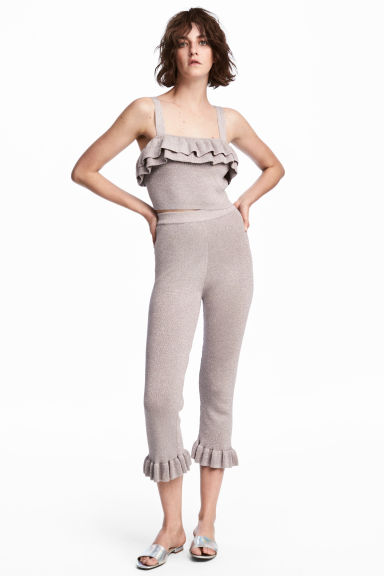 Glittery trousers with a frill - Light pink/Glittery -  | H&M 1
