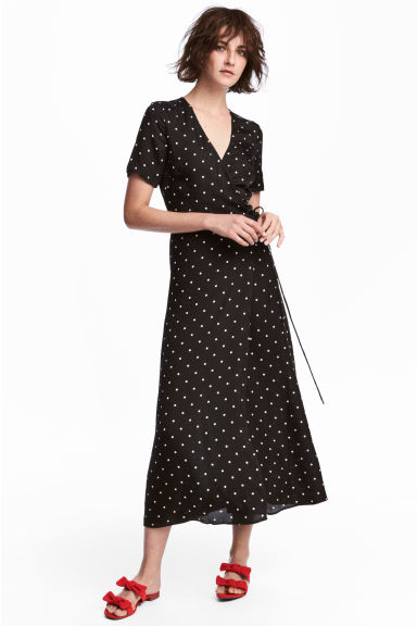 Jacquard-weave wrap dress - Black/Spotted -  | H&M CN