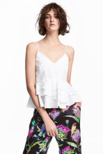 Flounced strappy top - White -  | H&M CA 1