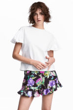 Flounced-sleeve top - White - Ladies | H&M CN 1