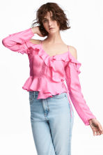 Cold shoulder blouse - Pink - Ladies | H&M GB 1