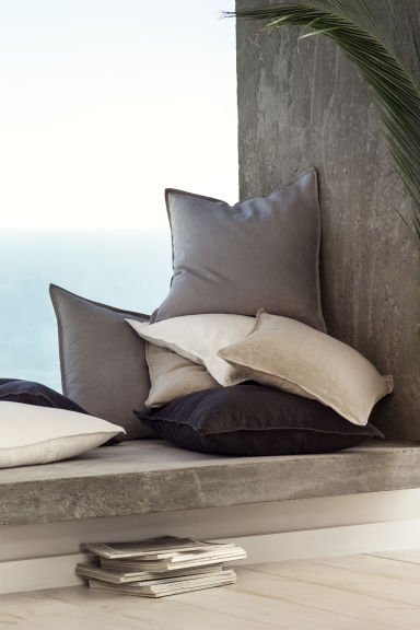 Linen cushion cover - Grey - Home All | H&M CN