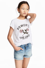 Printed jersey top - White - Kids | H&M CA 1