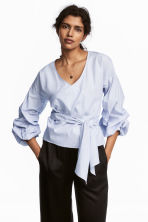 Wrapover cotton blouse - White/Blue striped - Ladies | H&M 1