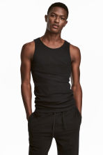 Ribbed vest top - Black - Men | H&M 1
