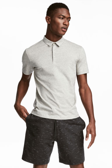 Polo shirt Slim Fit - Grey beige marl - Men | H&M 1