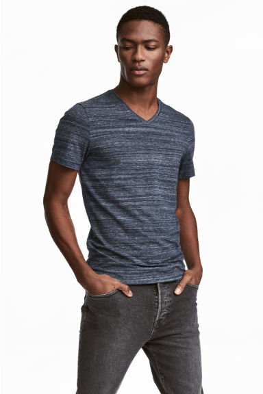 V-neck T-shirt Slim fit - Dark blue marl - Men | H&M