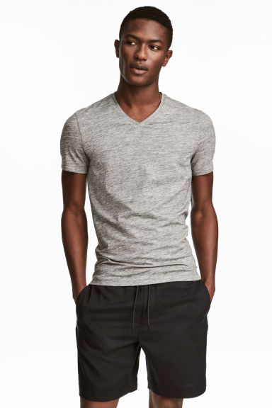 V-neck T-shirt Slim fit - Grey marl - Men | H&M CA 1