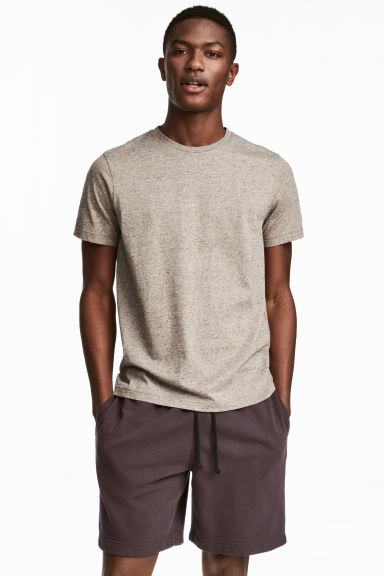 Round-neck T-shirt Regular fit - Beige marl - Men | H&M CA
