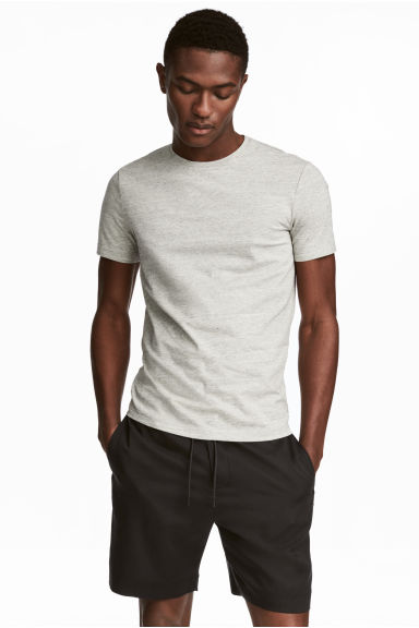 Round-necked T-shirt Slim fit - Grey beige marl - Men | H&M 1