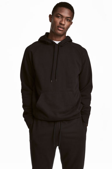 Hooded top with raglan sleeves - Black - Men | H&M 1