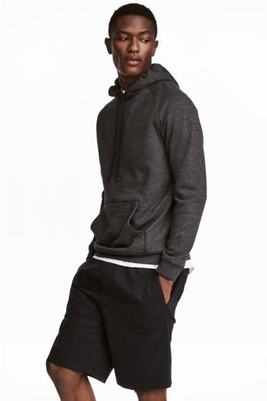 拼接袖連帽上衣 - Anthracite/Grey marl -  | H&M