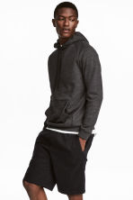Hooded top with raglan sleeves - Anthracite/Grey marl - Men | H&M 1