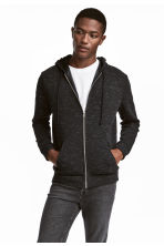 Hooded jacket Regular fit - Black marl - Men | H&M 1