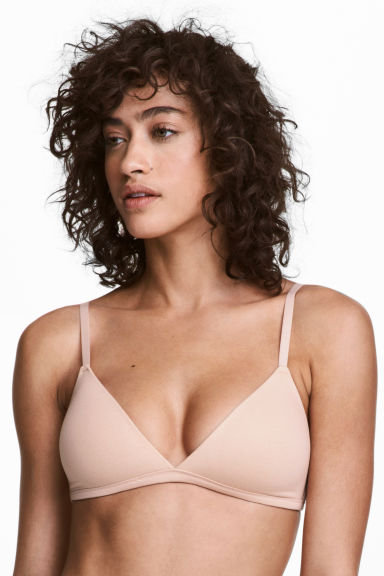 2-pack non-wired bras - Powder pink/Dark grey - Ladies | H&M 1