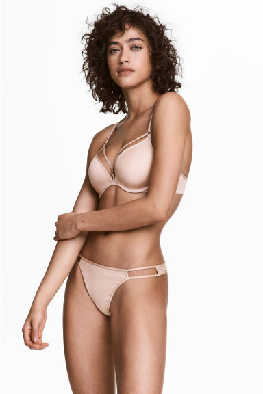 Thong in microfibra - Cipria - DONNA | H&M IT 1