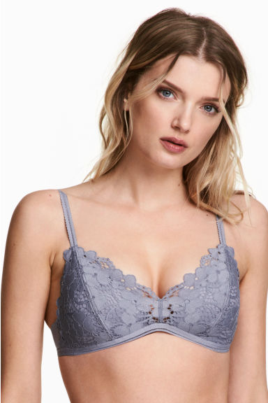 Non-wired push-up bra - Blue-grey - Ladies | H&M 1