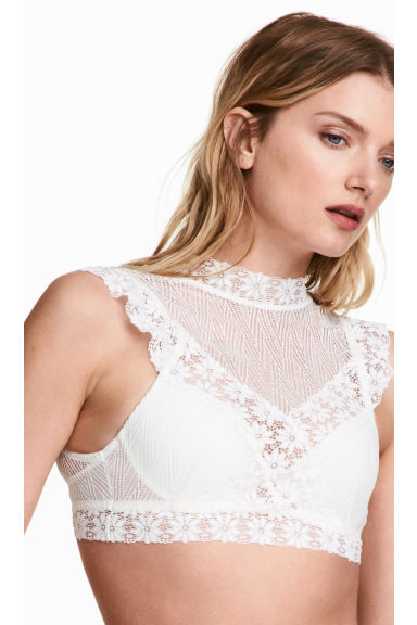 Lace push-up bra - White -  | H&M
