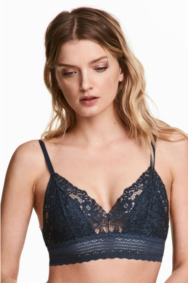 Non-wired lace triangle bra - Dark blue - Ladies | H&M 1