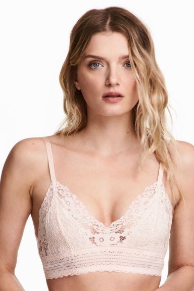 Non-wired lace triangle bra - Light beige - Ladies | H&M 1