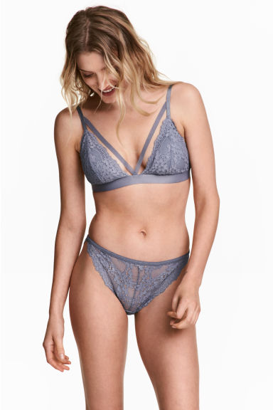 Lace bikini briefs - Blue-grey - Ladies | H&M CN 1