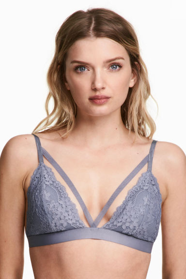 Non-wired lace triangle bra - Blue-grey - Ladies | H&M 1
