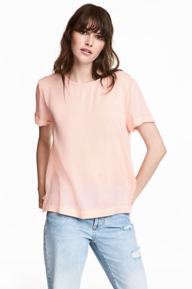 Short-sleeved blouse - Powder pink - Ladies | H&M