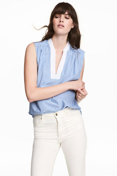 Sleeveless cotton blouse - Blue/White/Striped -  | H&M