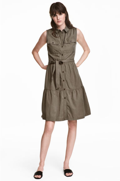 Sleeveless lyocell-blend dress - Khaki green - Ladies | H&M IE