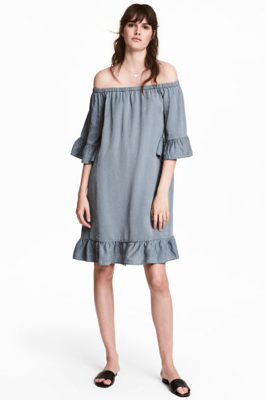 Off-the-shoulder dress - Grey-blue - Ladies | H&M
