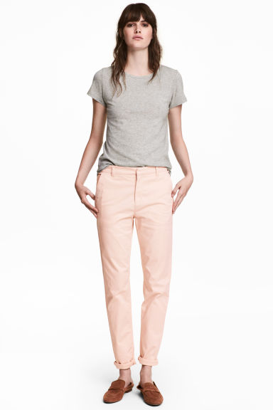 Cotton chinos - Powder pink - Ladies | H&M CA