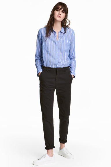Cotton chinos - Black - Ladies | H&M IE 1