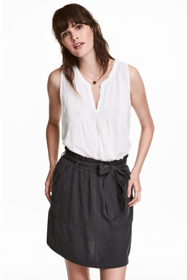 Trousers with a tie belt - Dark grey - Ladies | H&M GB