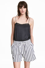 Cotton shorts - White/Dark blue/Striped - Ladies | H&M 1