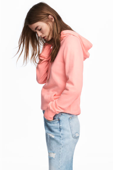 Cotton hooded top - Neon pink -  | H&M