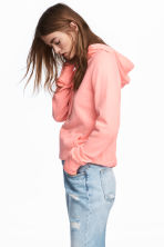 Cotton hooded top - Neon pink - Ladies | H&M 1