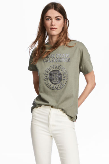 Wide T-shirt - Khaki green - Ladies | H&M CN