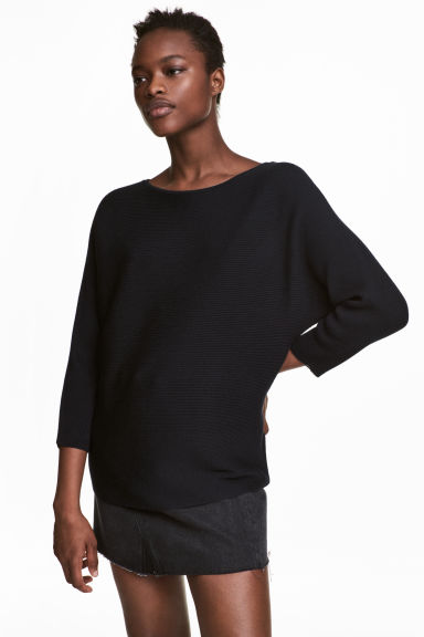 Ribbed jumper - Dark blue - Ladies | H&M 1