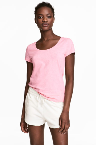 Jersey top - Light pink marl - Ladies | H&M 1