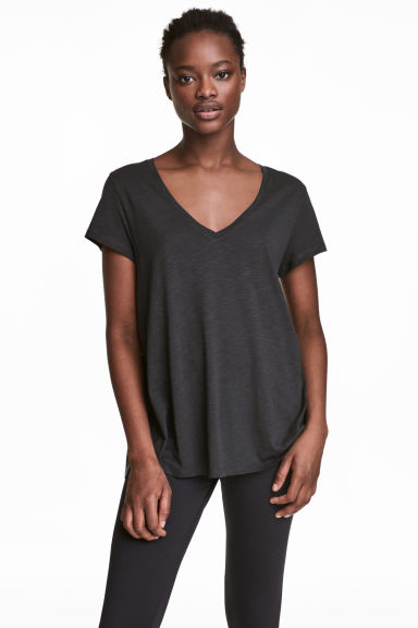 Slub jersey V-neck top Model