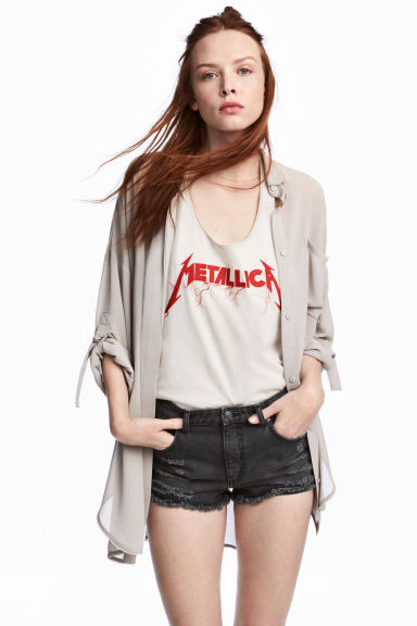 Oversized shirt - Grey beige - Ladies | H&M CN 1