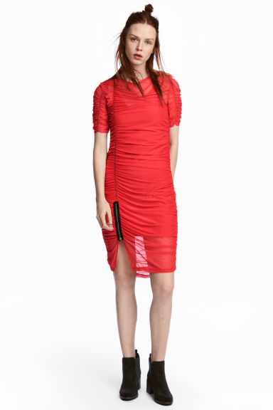 Draped Mesh Dress - Red - Ladies | H&M CA 1