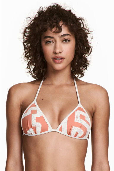 Push-up triangle bikini top - Apricot/White - Ladies | H&M