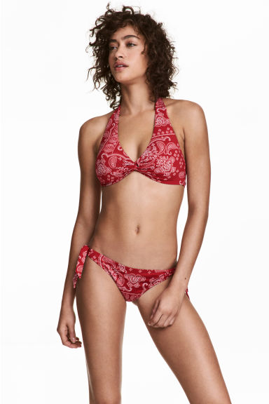 Tie tanga bikini bottoms - Red/Paisley - Ladies | H&M CN 1