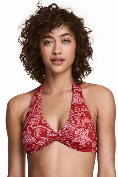 Halterneck bikini top - Red/Paisley - Ladies | H&M 1