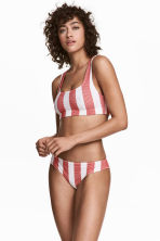 Hole-patterned bikini bottoms - White/Red stripe - Ladies | H&M 1