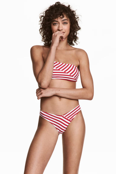 High leg bikini bottoms - White/Red stripe - Ladies | H&M CN 1