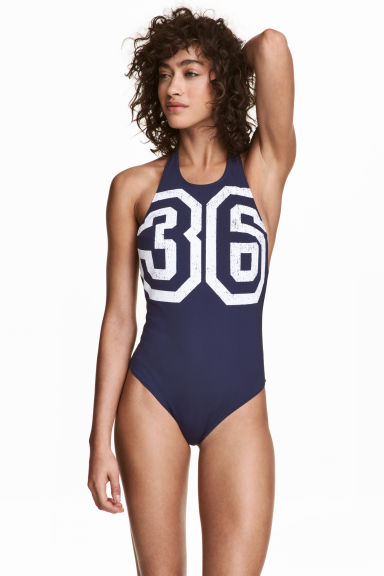 Halterneck swimsuit - Dark blue - Ladies | H&M 1