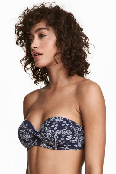 Balconette bikini top - Dark blue/Paisley - Ladies | H&M GB
